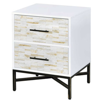 Acme 97451 Uma white weathered wood finish 2 drawer nightstand bed side end table