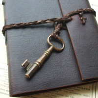 Brass Key Leather Journal