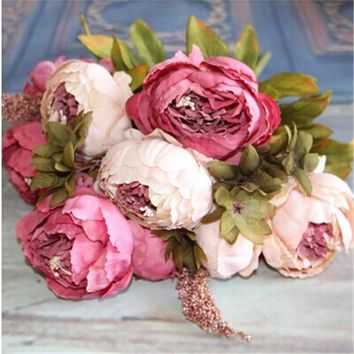 Wedding Home Party DecorationSilk Flower European 1 Bouquet Artificial Flowers Fall Vivid Peony Fake Leaf LKT