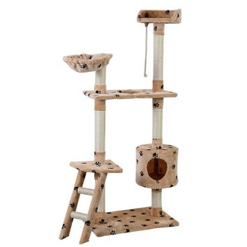 "60"" Cat Furniture Tree Tower Condo Scratcher House Hammock Beige With Paw Prints"