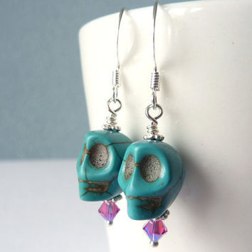 Turquoise Blue Sugar Skull Bead Earrings, Day of the Dead ***SOLD***