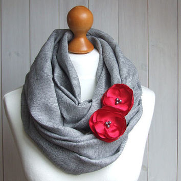 LINEN Infinity Scarf tube scarf with floral pins, pure linen scarf