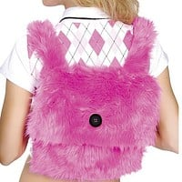 Sexy Faux Fur Go Go Schoolgirl Backpack Halloween Accessory