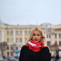 Christmas Tube Scarf - Red White Infinity Scarf - Red Circle Scarf - Fashion Scarf