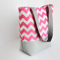 Gray and Pink Chevron and faux leather tote, bridesmaid tote, weekend bag, travel bag, beach bag, should strap purse, tall tote bag.