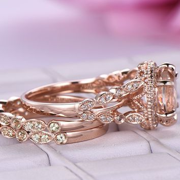 Oval Morganite Engagement Ring Sets Peridot Wedding Band 14K Rose Gold 8x10mm