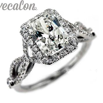 Vecalon fashion ring wedding band ring for women 4ct 5A Zircon cz ring 925 Sterling Silver Female Engagement Finger ring