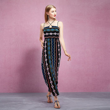 Casual Criss Cross Spaghetti Strap Stripe Diamond Print Maxi Dress