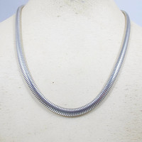 "Sterling Omega Snake Chain Necklace. Wide Thick Heavy Omega Link Chain. Unisex Sterling Silver Snake Chain. 38 Grams. 18"" 5.4mm"