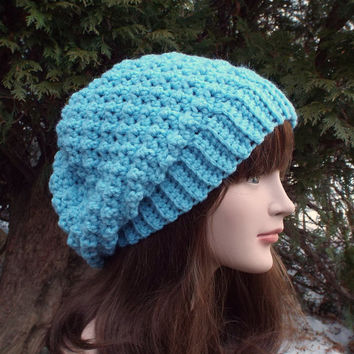 Sky Blue Slouchy Crochet Hat - Womens Slouch Beanie - Ladies Oversized Cap - Chunky Winter Hat