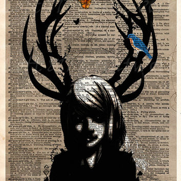 Deer girl - Girl with antlers - Dark forest sprite - dictionary page art print