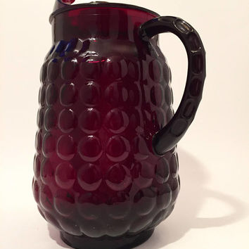 Red Bubble Glass Pitcher, Vintage Anchor Hocking Red Glass Pitcher