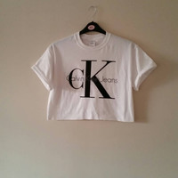 unisex customised diy calvin klein cropped t shirt one size 6/8/10/12/14  festival swag