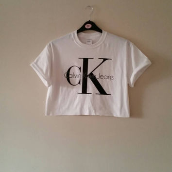 b8aad5004a78 unisex customised diy calvin klein cropped t shirt one size 6 8 10