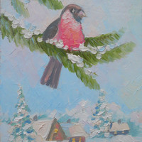 Handmade unique christmas greeting cards.Small oil painting. Original abstract winter landscape, bullfinch, hardboard or canvas, winter bird