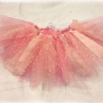 Valentine Tutu, Pink Heart skirt, shabby chic fabric and tulle tutu skirt, pink tutu, Valentines Day Choose your size