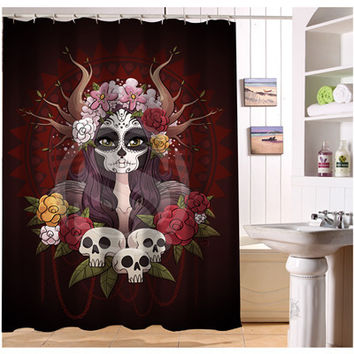 W522#61 Custom Cool Pirate And Skull Modern Shower Curtain bathroom Waterproof  Free Shipping  #fj61