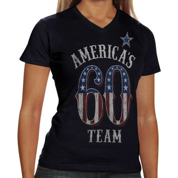 Dallas Cowboys Ladies Team America V-Neck T-Shirt - Navy Blue