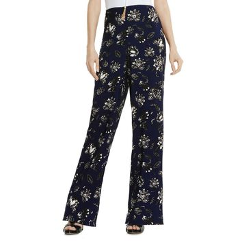 Vince Camuto Womens Satin Floral Print Casual Pants