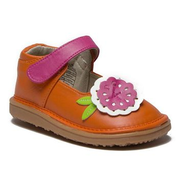 Mooshu Toddler Girl's Big Flower Squeaky Mary Jane Flats Shoes