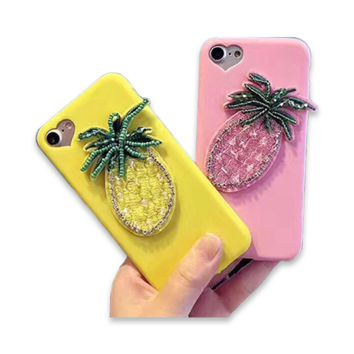 151-Handmade Pineapple Embroidered Beads Case For iPhone