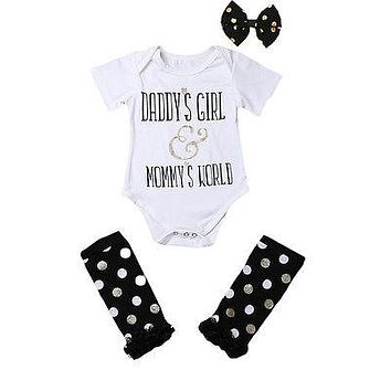 Summer Newborn Baby Girls Daddy's Girl Romper+Leg Warmers Headband Outfits Clothes Set