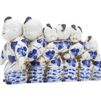 """Beautiful Blue and White Chinese Boys in Line Porcelain Figurine 6.5"""""""