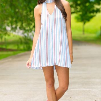 Changes In Latitudes Blue Striped Dress