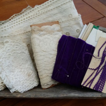 Lot of Vintage Lace Velvet Eyelet Trim Purple White Sewing Card Making Scrap Booking Jewelry Altered Art Upcycling Repurposing