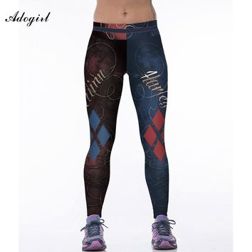 Adogirl Women Print Harley Quinn Fitness Leggings Fashion Workout Pants Clothes For Women Spandex Pants Leggins Punk Ropa Mujer