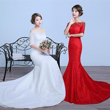 2016 Free Shipping Lace Mermaid Wedding Dress Red Real Photo Sleeve Plus Size Vintage Belt Bridal Dress Robe de Mariee Sirene