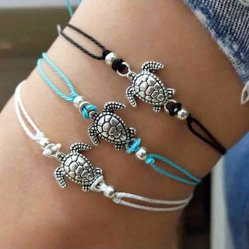 Bohemian Turtle Anklets Adjustable Wax Rope Black Blue White