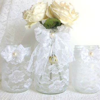 white lace masojn jars - 3 piece white lace covered mason jar candle holders and vase, wedding decor, bridal shower decor, gift or for you