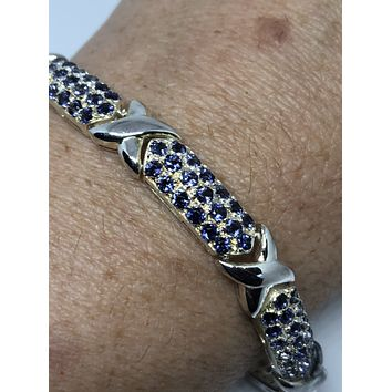 Handmade Genuine Blue Sapphires Rhodium Finished 925 Sterling Silver Tennis Bracelet