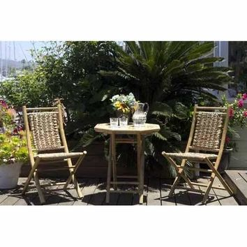 3-Piece Indoor/Outdoor Bistro Set - Bamboo In Natural Bamboo, Natural Water Hyacinth