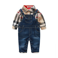 Cute Baby Boy Clothes Sets Toddler Plaid Shirt Top Bib Pants Overall Costume Baby Boys Clothes Bebe Clothing Set Clothing Set