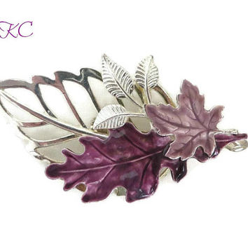 Signed KC Leaf Brooch - Vintage Purple Silver Tone Large Leaf Pin