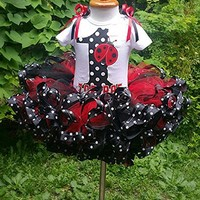 ladybug tutu, ladybug outfit, tutu birthday tutu, first birthday tutu