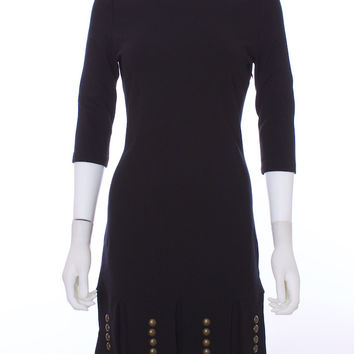 MARA HOFFMAN Black Gladiator Low Back Tabbed  Hem Brass Riveted BodyCon Dress Size Medium