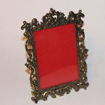 Vintage Italian Ornate Brass Photo Picture Frame with Glass
