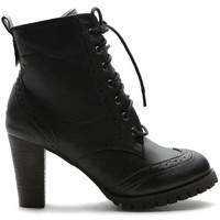 Ollio Women's Shoe Wingtip Lace Up Fashion High Heel Ankle Boot