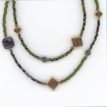 Green DoubleStrand Necklace with Gemstones Crystals and by Lehane