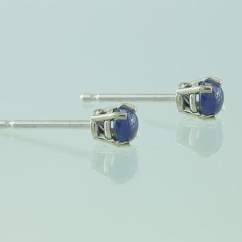 3mm Sapphire Cabochon 14KT White Gold Post Earrings