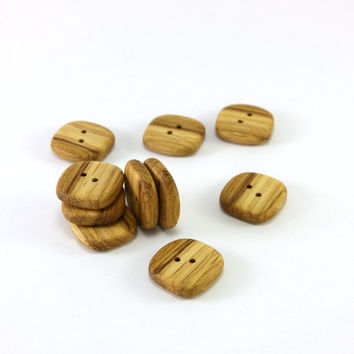 Square wooden buttons - Set of 10 rustic oak wood buttons - 0.8in (20mm) - Natural wood buttons - Handmade craft supplie (O3042)