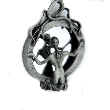 Skeleton Lady of Death Necklace Soul Reaper Looking Mirror Gothic Jewelry