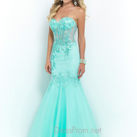 Blush Lace Mermaid Prom Dress 9941