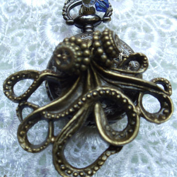Octopus pocket watch pendant, steampunk style, treasure from the sea with bronze charms in antique bronze