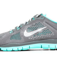 Nike Free Run TR Fit 5 Breathe By Glitter Kicks - Customized With Swarovski Crystal Rhinestones -Gray/White TR