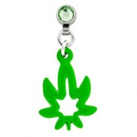 Microdermal Dangling Green Pot Leaf Charm - Magnetic - Fully Rotational - Sold Individually