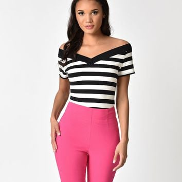 Hell Bunny Black & White Striped Cotton Caitlin Top
